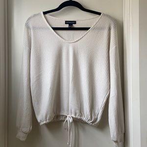 Streetwear Society White Waffle Knit Top
